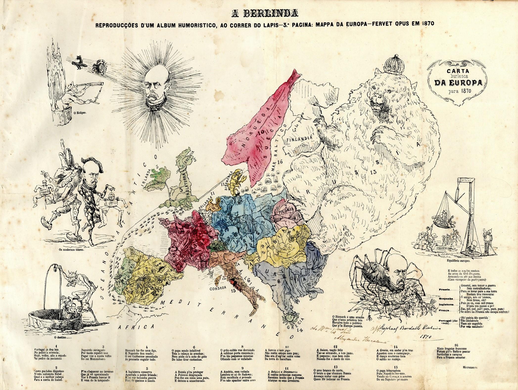 """""""Carta burlesca da Europa para 1870"""", A Berlinda, 1870, pag. 3. Mapa da Europa em que cada país é caricaturado com humor."""