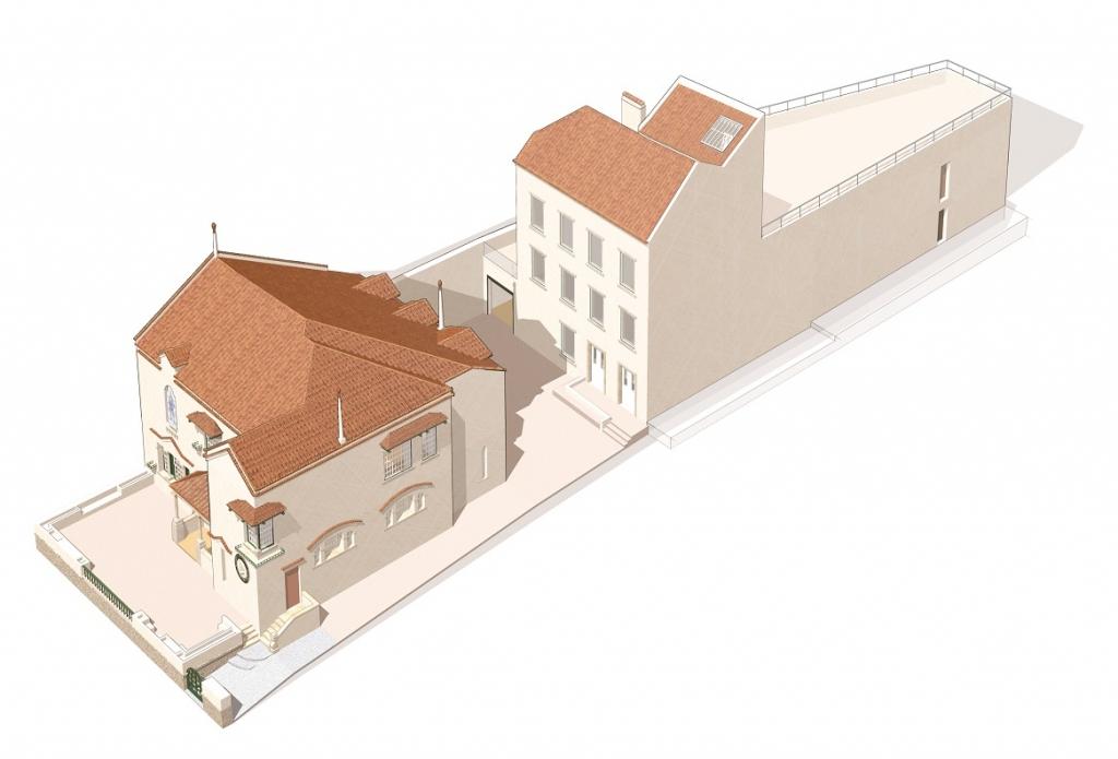 Maquete 3D das instalações do Museu Bordalo Pinheiro - Casa, galeria de exposições temporárias e edifício técnico