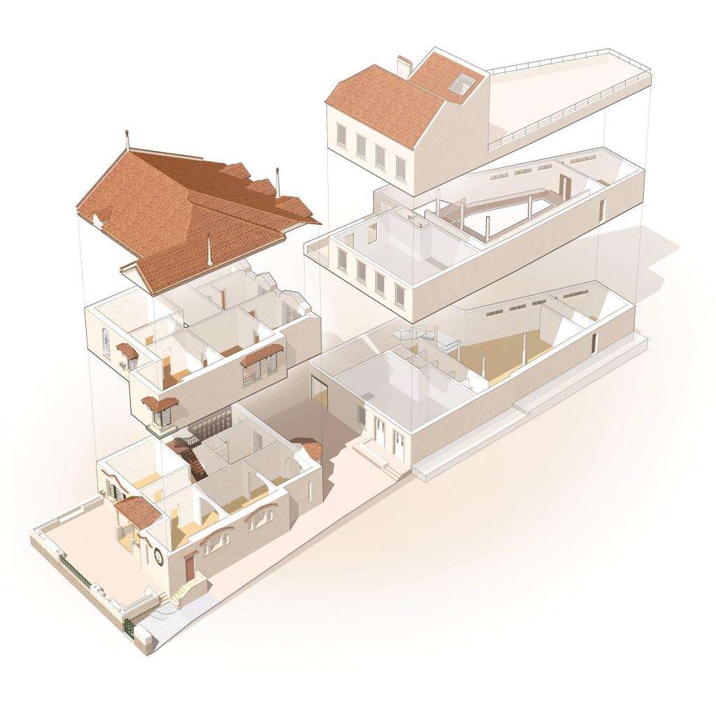 Maquete 3D das instalações do Museu Bordalo Pinheiro - Casa, galeria de exposições temporárias e edifício técnico - espaços interiores dos diversos pisos
