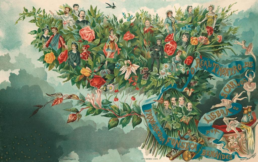 Composição de Rafael Bordalo Pinheiro para a capa do livro 'O Real Theatro de S. Carlos de Lisboa', de Francisco da Fonseca Benevides, publicado em Lisboa, em 1883. Nesta gravura, a par de 19 personalidades do mundo artístico, figuram também várias espécies de flores, entre elas, distinguem-se uma orquídea, uma passiflora, rosas, brincos-de-princesa, cravos e margaridas.