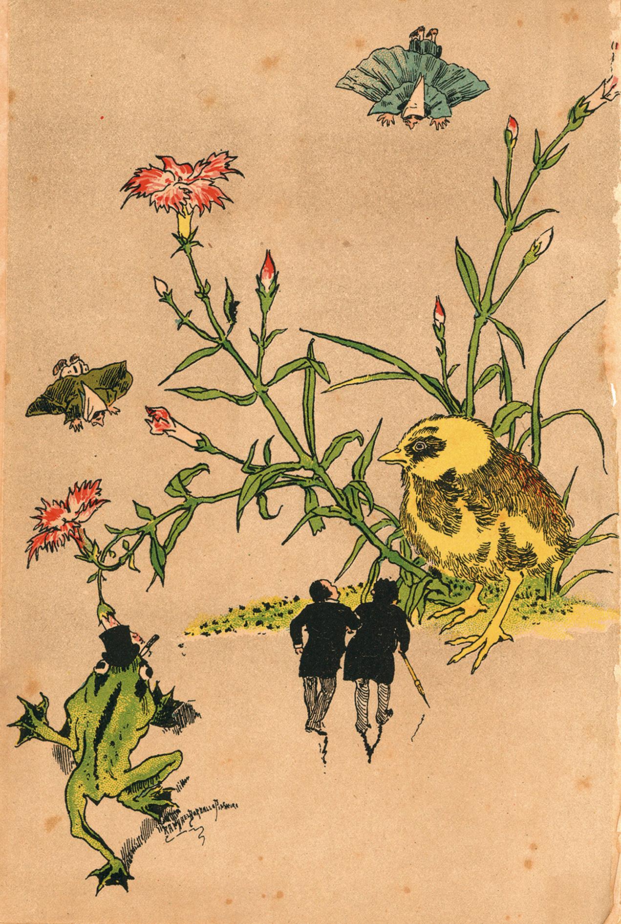 Ilustração de Rafael Bordalo Pinheiro na contracapa do 'Almanach do Antonio Maria 1883 e 1884', os personagens caminham em direcção às flores de cravina (Dianthus).